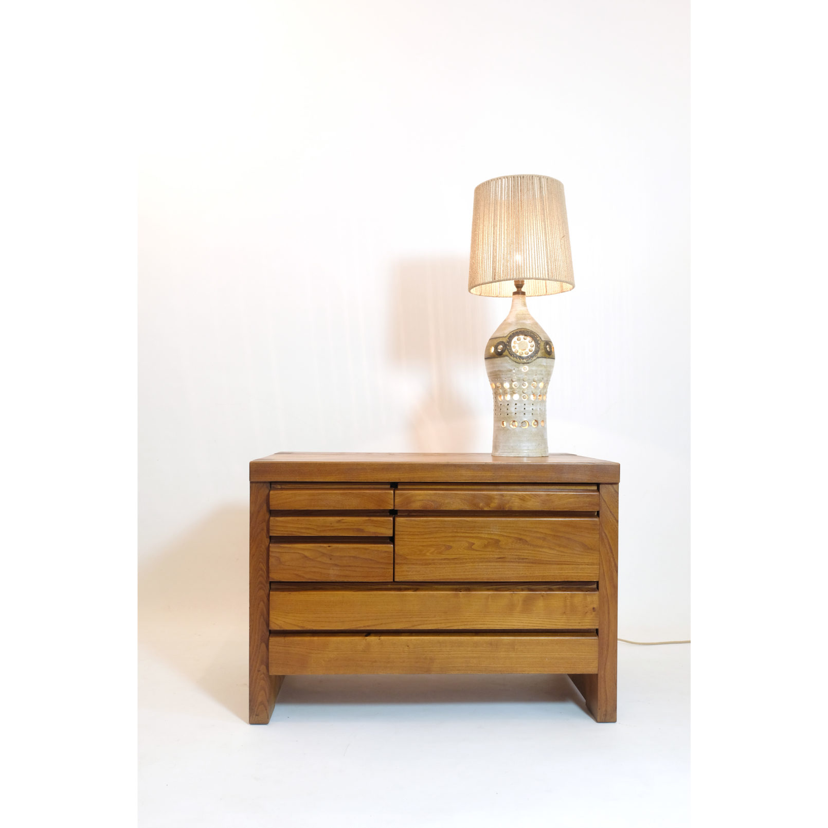 Pierre Chapo, R19 chest of drawers, solid elm, 1975.