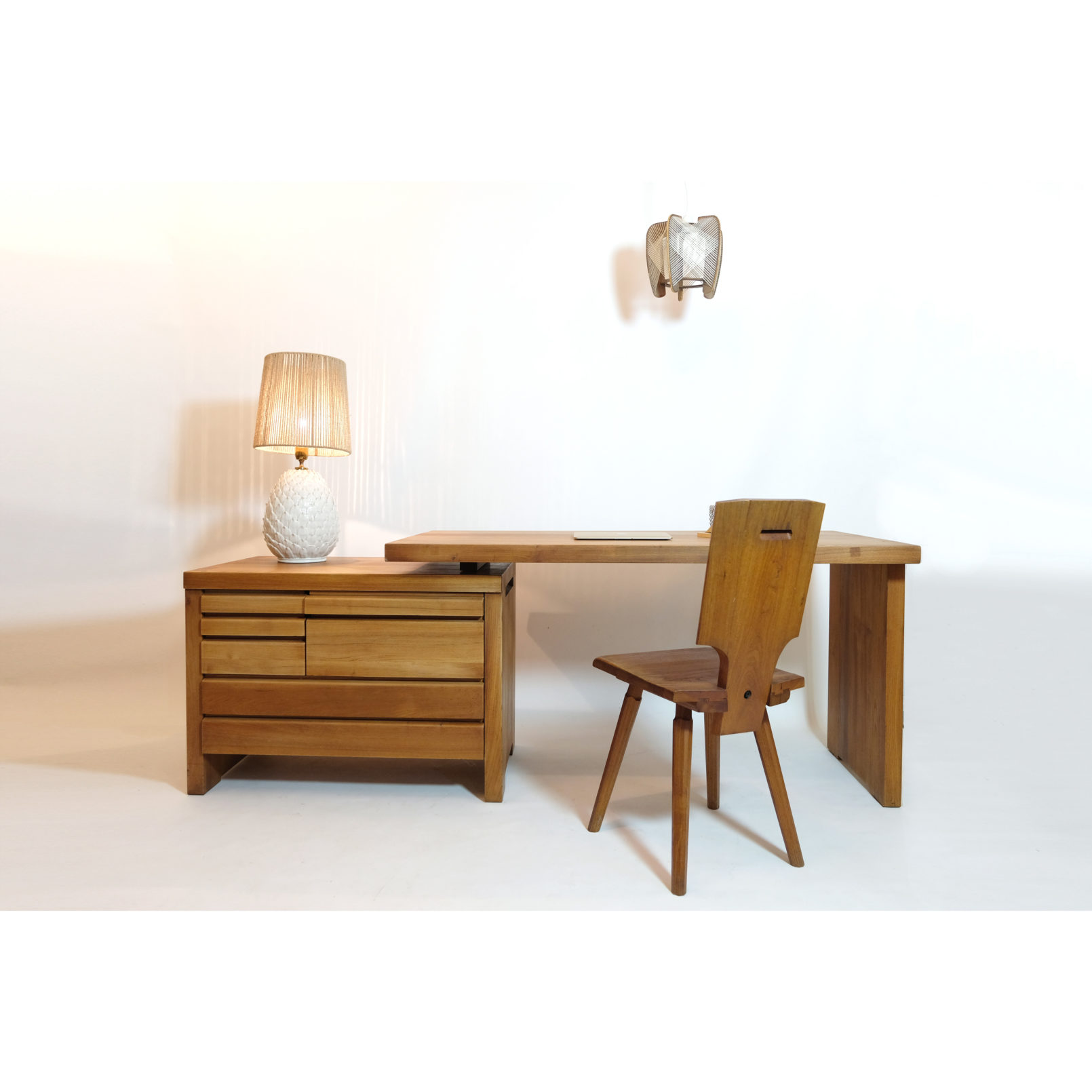 Pierre Chapo, B19 E desk in solid wood.