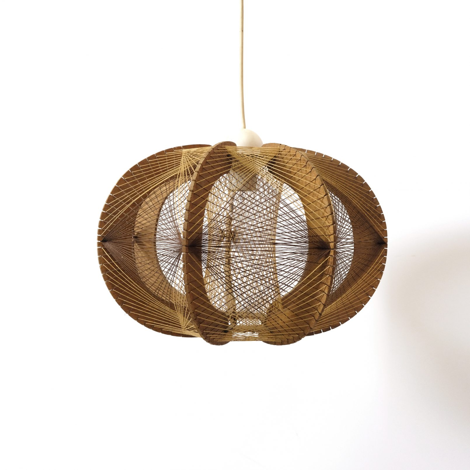 French hanging lamp made of wood and string, 1960s-1970s.