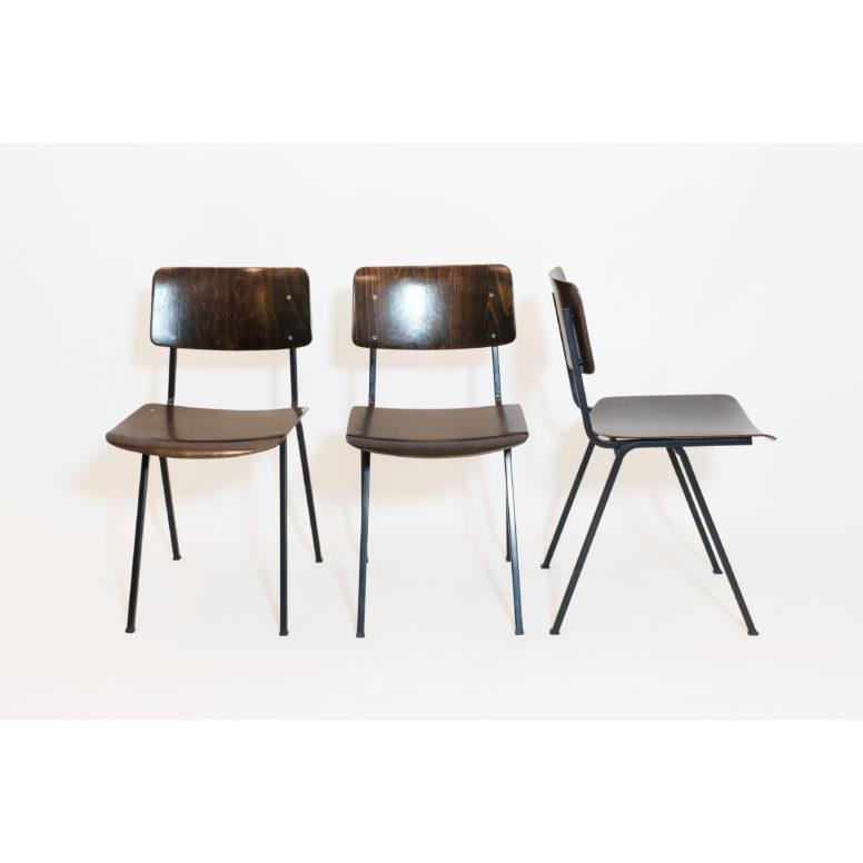 Eromes, trio de chaises F6 des années 60.