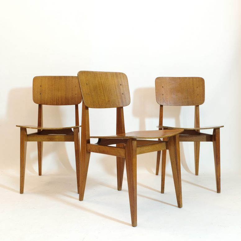Marcel Gascoin, set of 3 CD chairs, Arhec, 1950s.