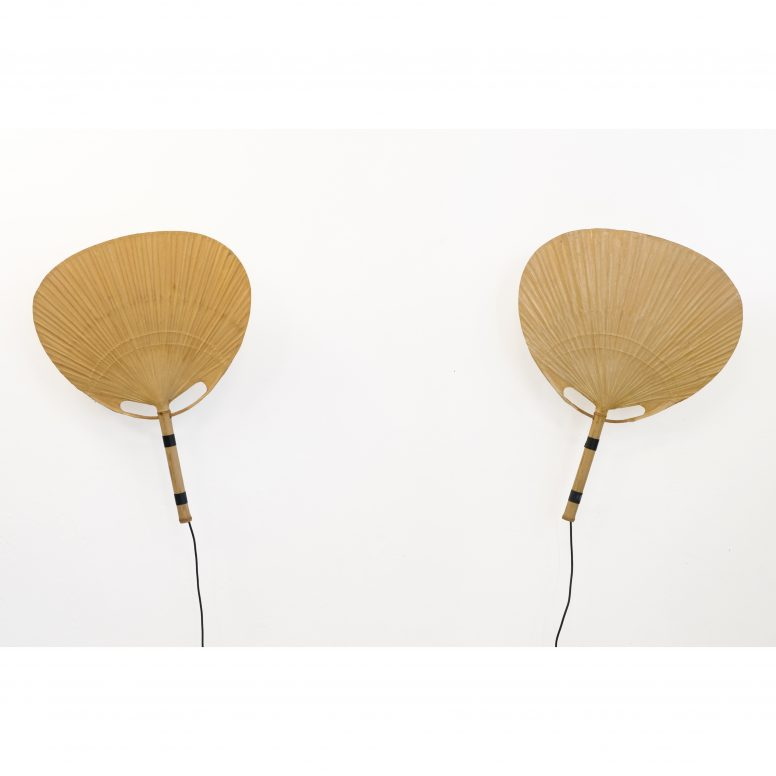 Ingo Maurer, pair of large Uchiwa lamps from the seventies.