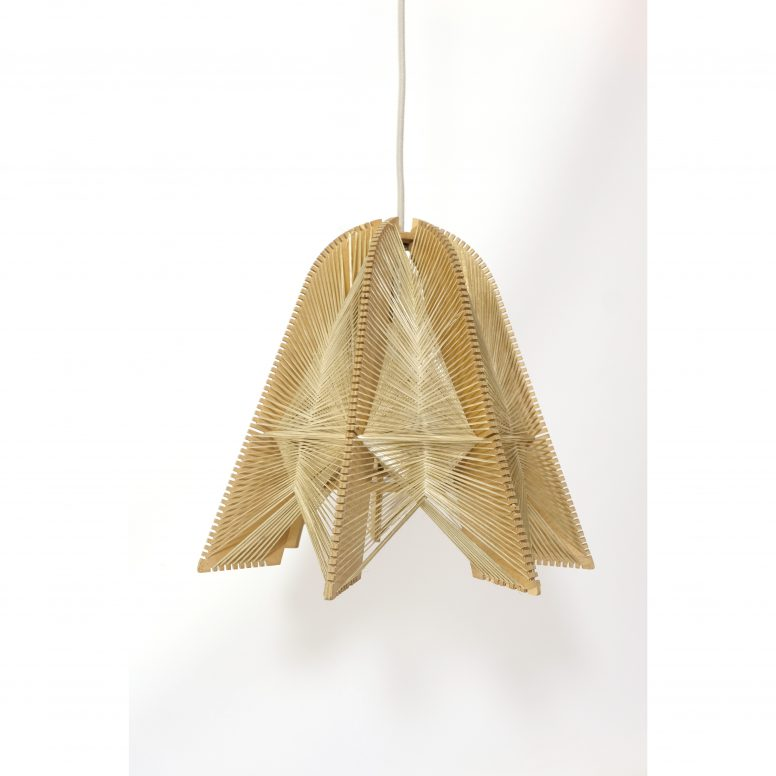 Hanging lamp from the seventies, wood and string.