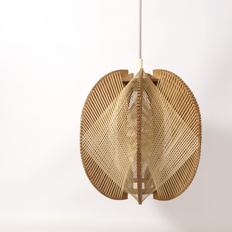 Large wood and string pendant from the 1960s-1970s.