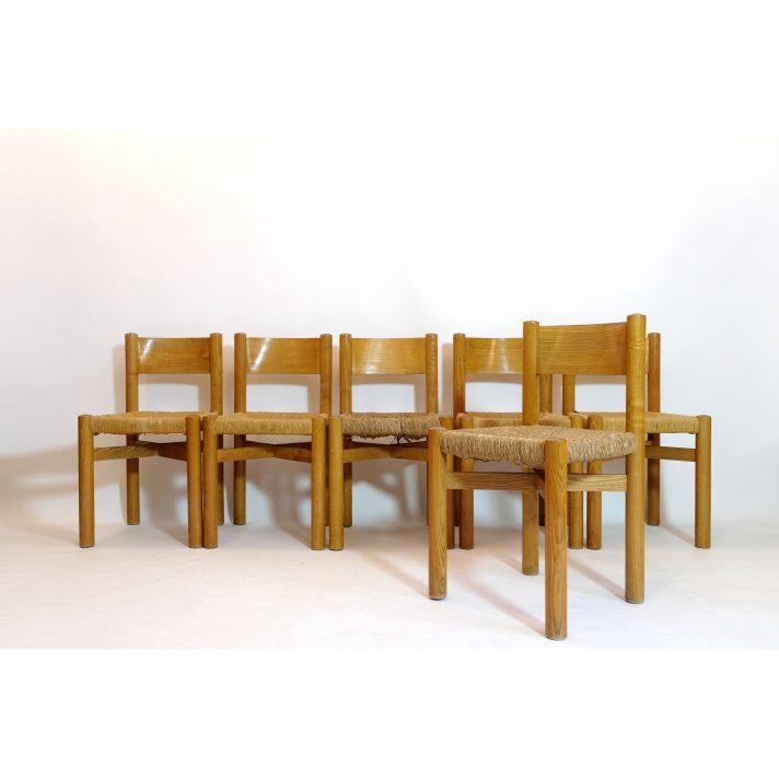 Suite de 6 chaises Méribel par Charlotte Perriand, 1960s.