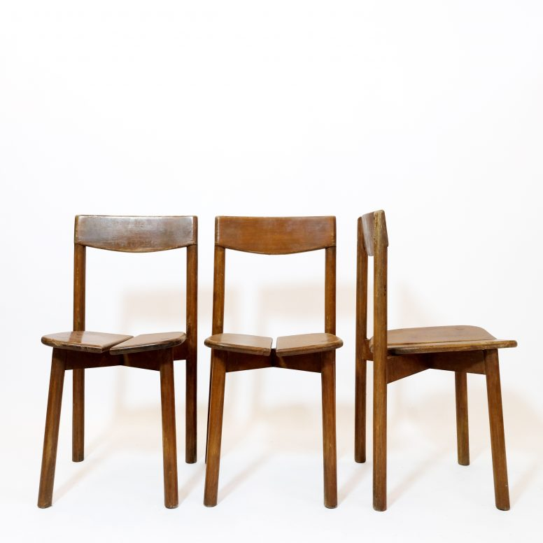 Pierre Gautier Delaye, set of 3 coffee bean chairs, Vergnères, 1955.