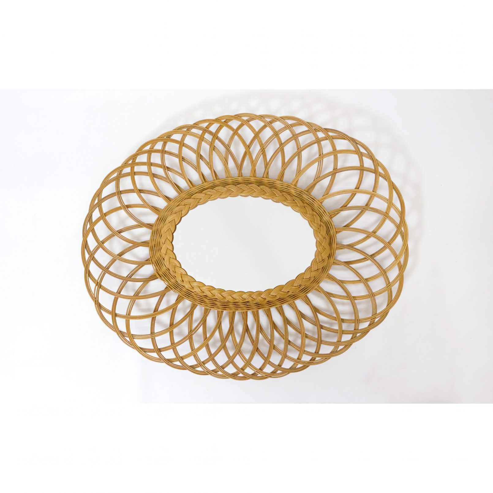 Oval wicker mirror, 60x50 cm.