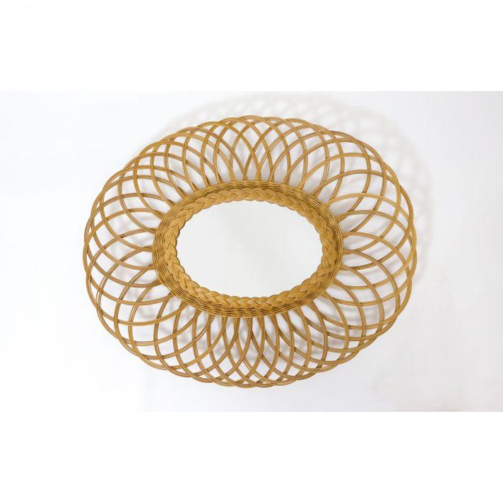 Miroir oval en osier, 60x50cm.