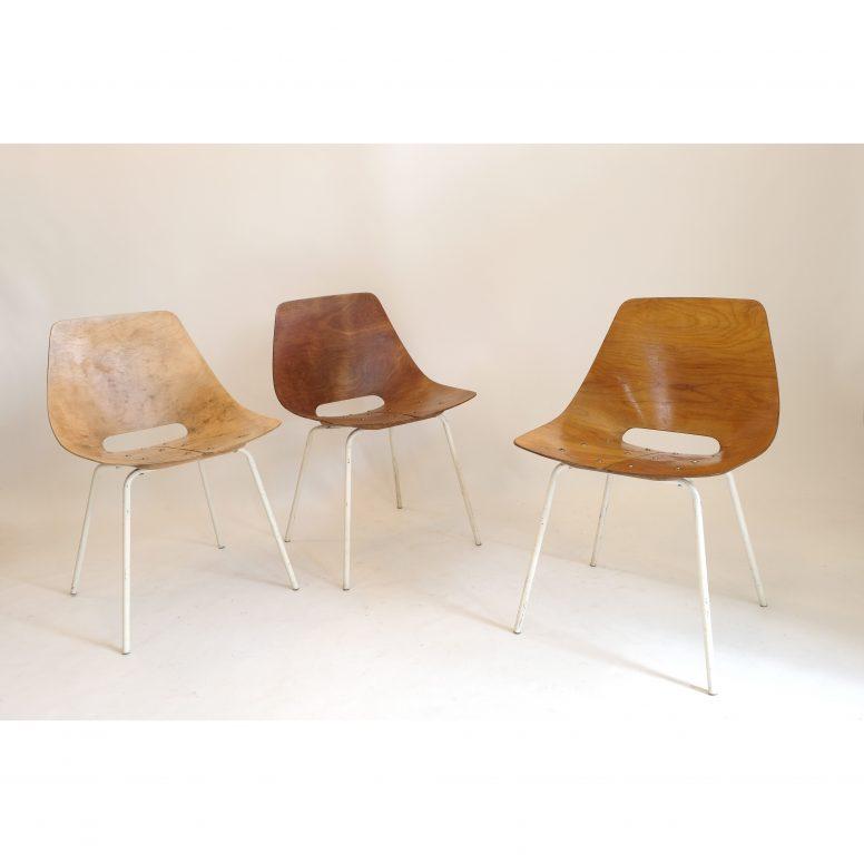 Pierre Guariche, set of 3 Tonneau chairs, Steiner, 1955.