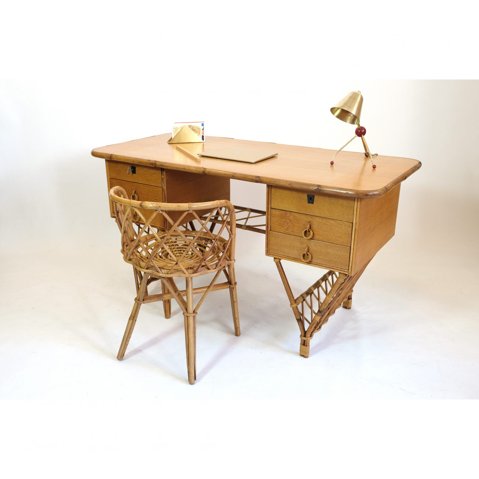 Bamboo and rattan desk and chair from the seventies.