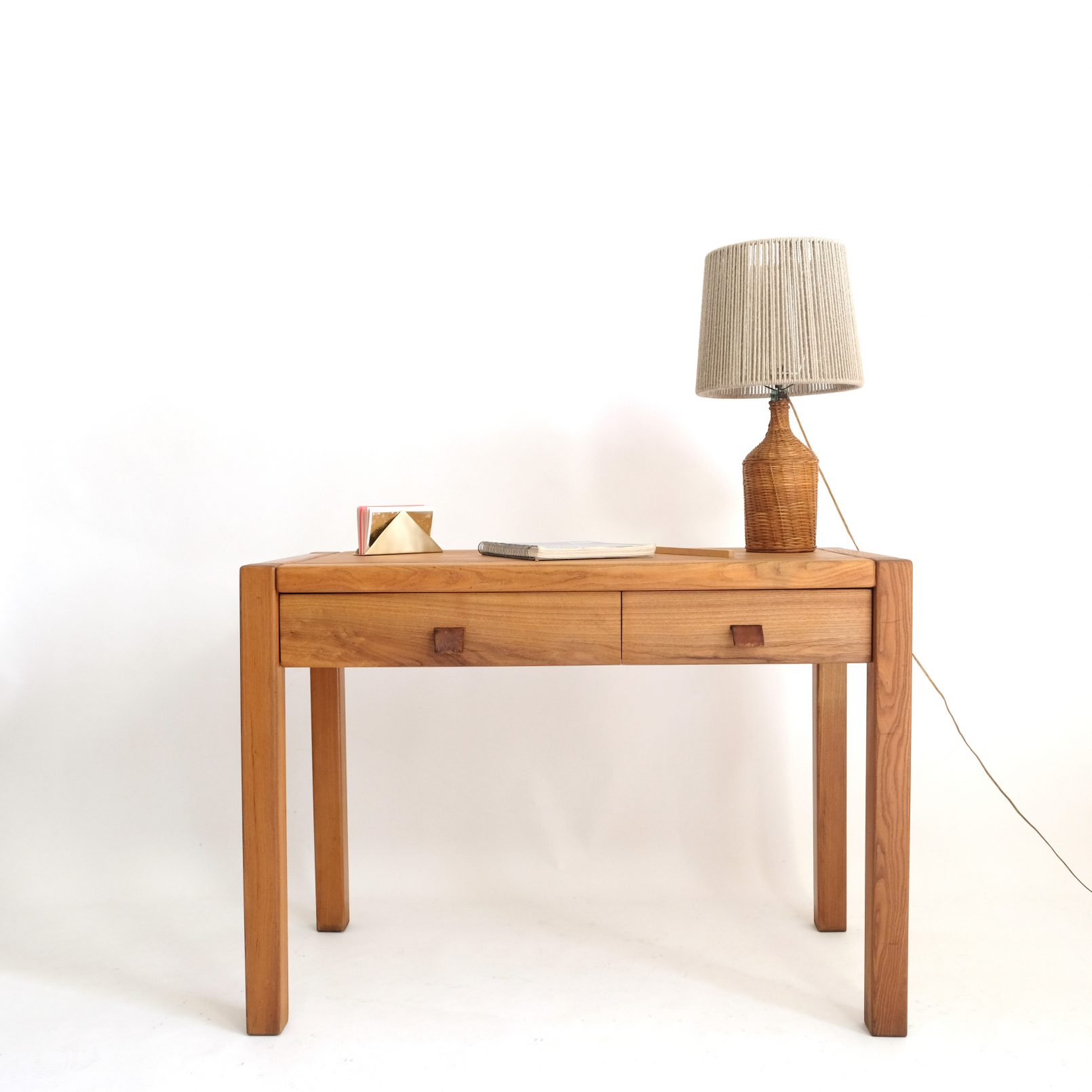 Maison Regain, solid elm desk from the 1960s-1970s.