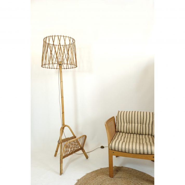French rattan floor lamp from the 1960s-1970s.
