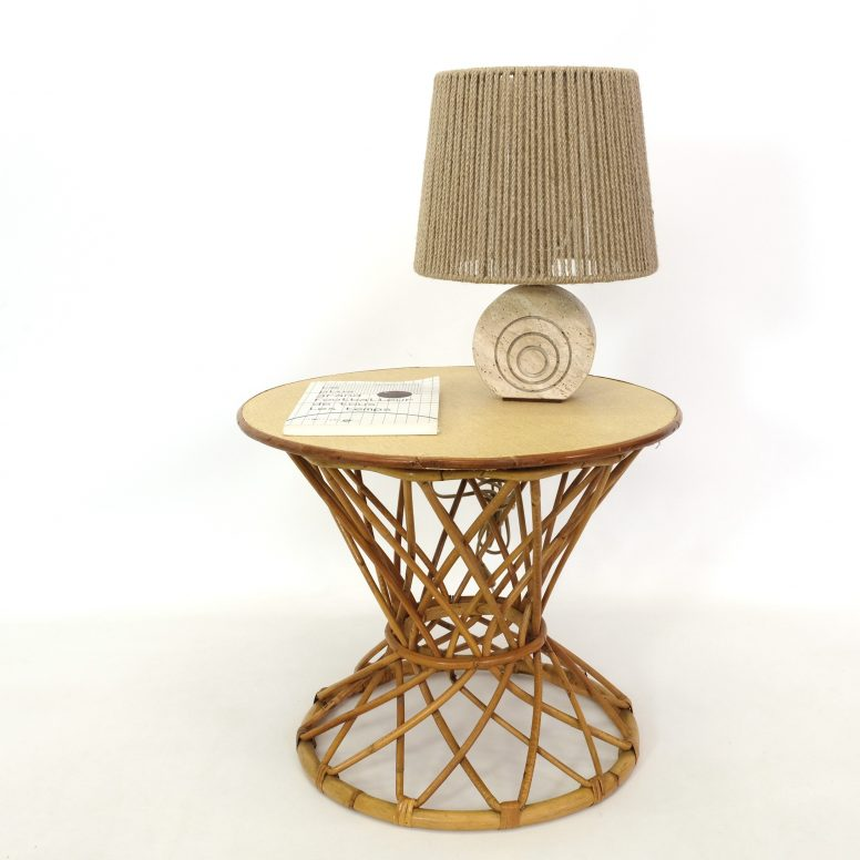 Little French rattan table, 1950s-1960s.
