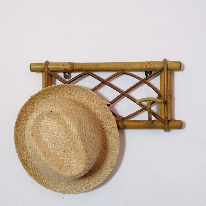 Vintage rattan and metal coat rack, 1960s-1970s.