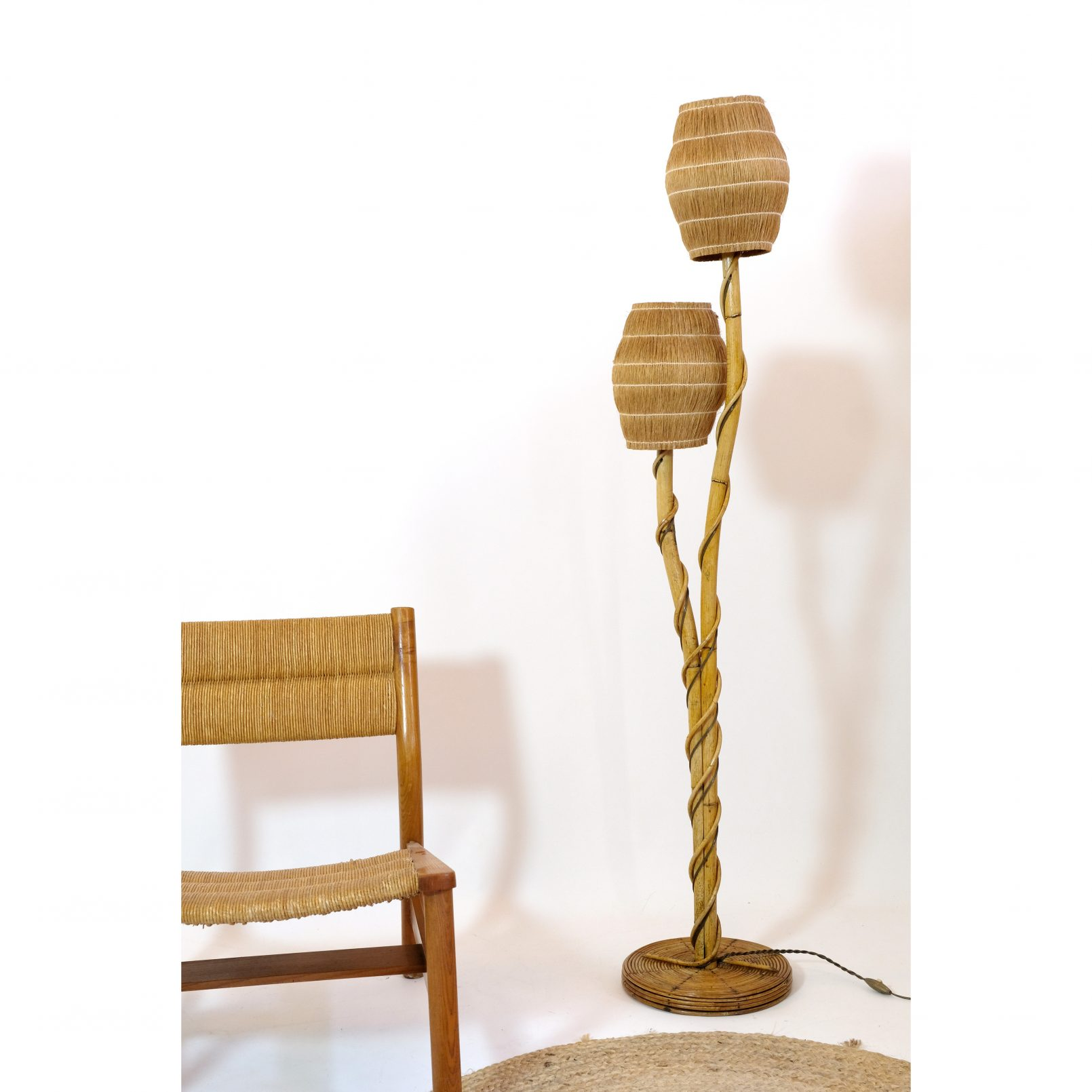French rattan floor lamp with 2 lights, 1950-1960.