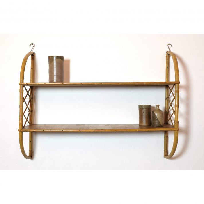 French wood and rattan shelves from the 1960s-1970s.