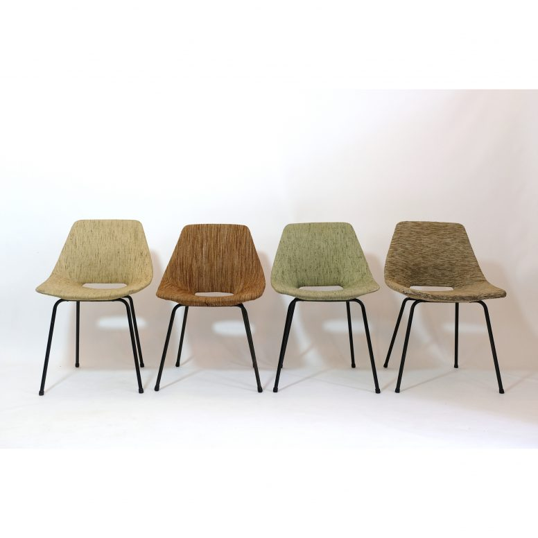 Pierre Guariche, set of 4 upholstered Tonneau chairs, Steiner, 1950s.