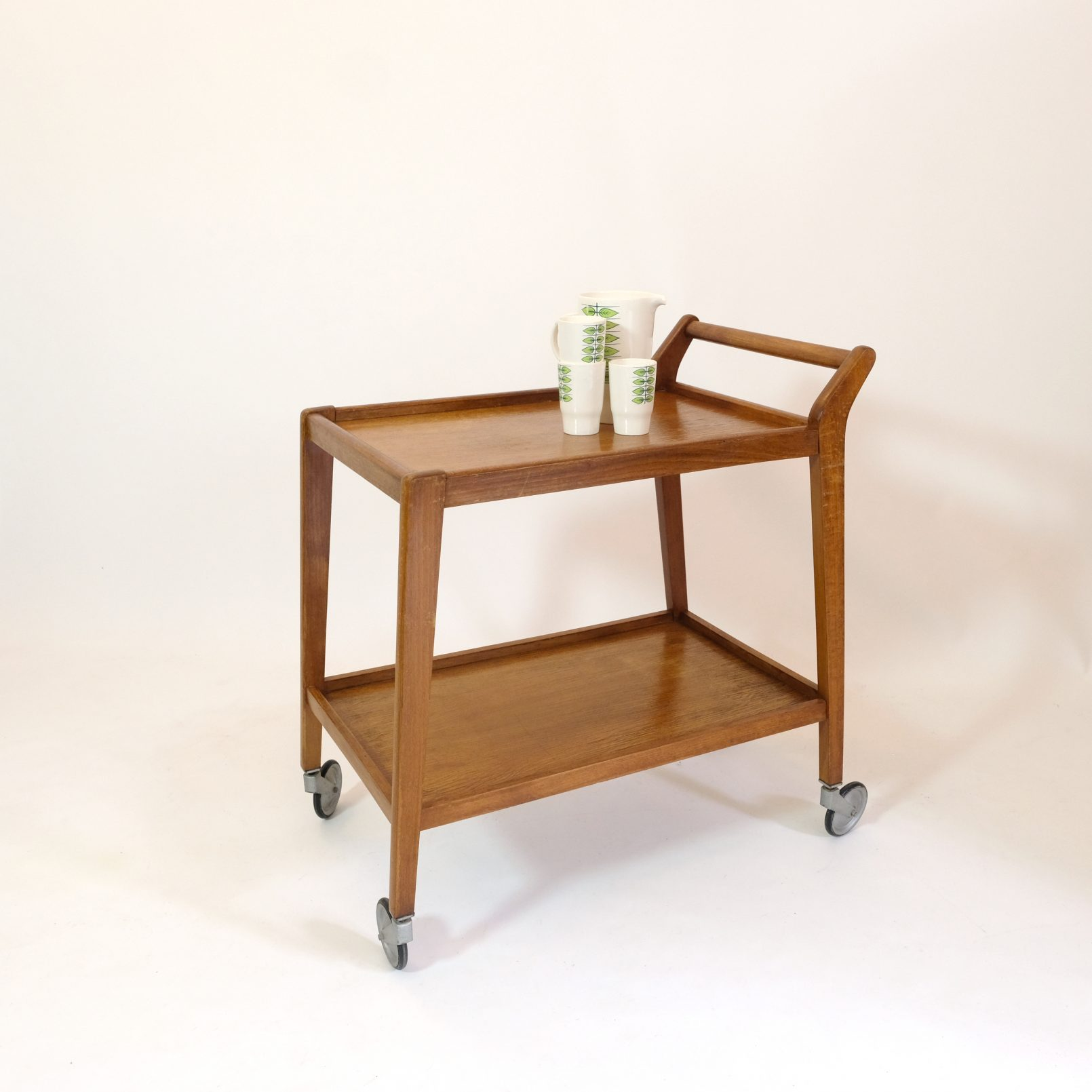 Wooden French serving trolley from the fifties.