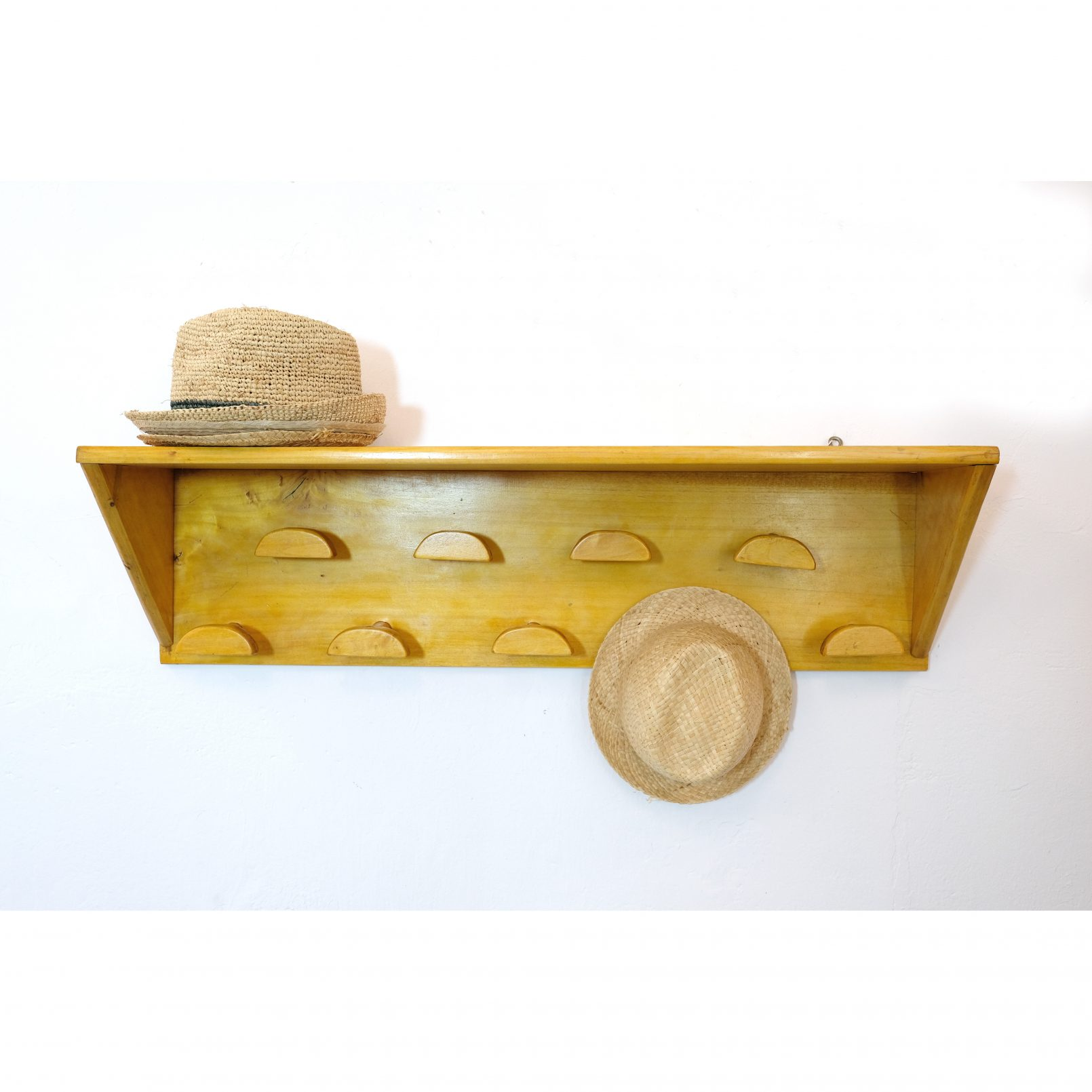 Large coat rack with a shelf, 9 hangers.