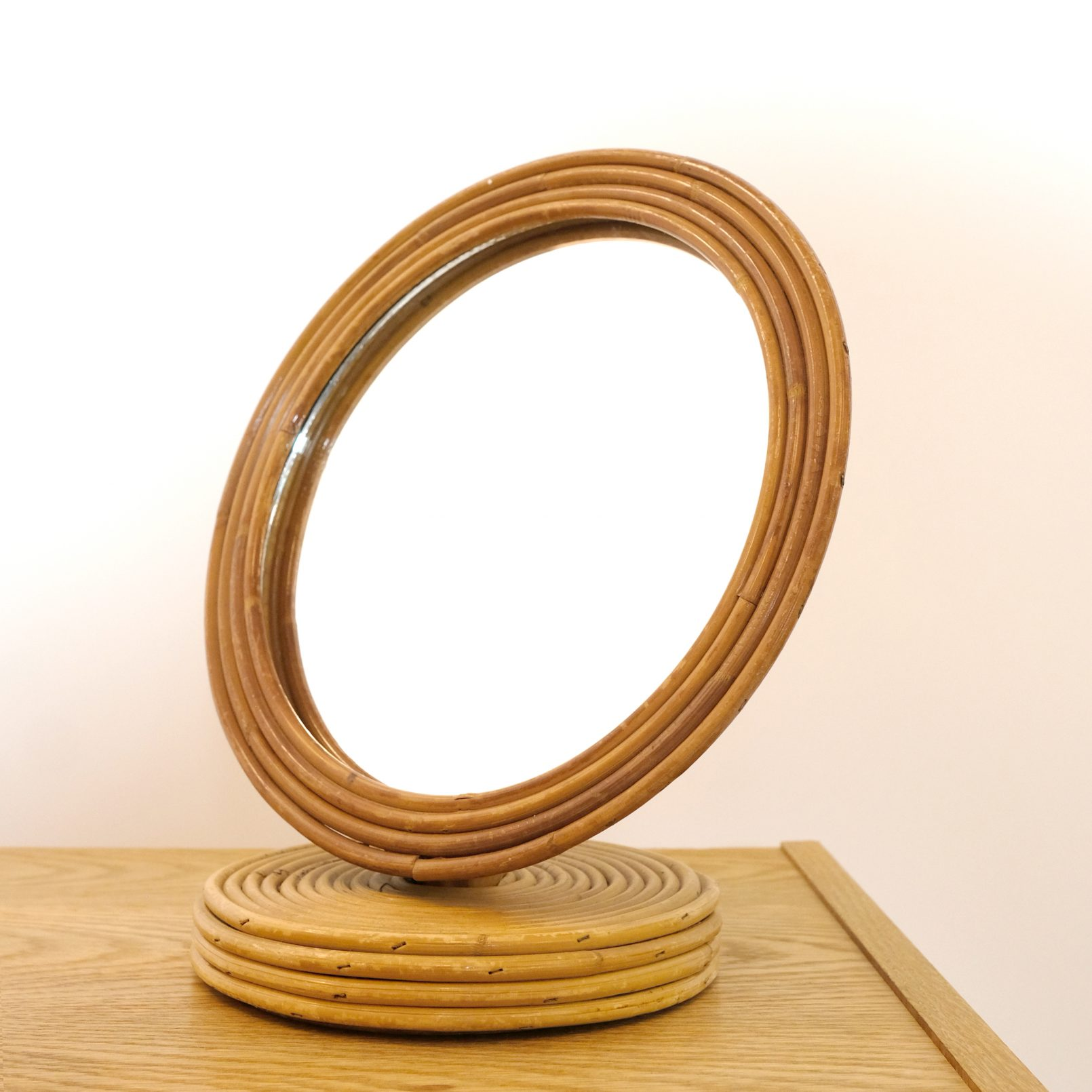 French rattan table mirror from the fifties.